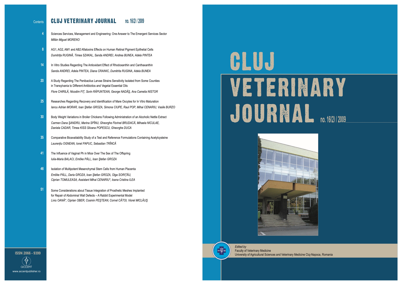 View Vol. 16 No. 2 (2009): Cluj Veterinary Journal